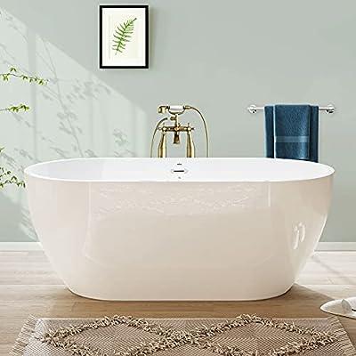 FerdY Freestanding Bathtub Gracefully Shaped Freestanding Soaking Bathtub, F-0538 Glossy White cUPC Certified, (ferdy-0538-59)