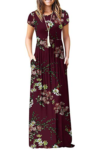 Euovmy Women's Casual Loose Short Sleeve Plain Maxi Summer Dresses Casual Long Dresses with Pockets Floral Wine Red X-Large