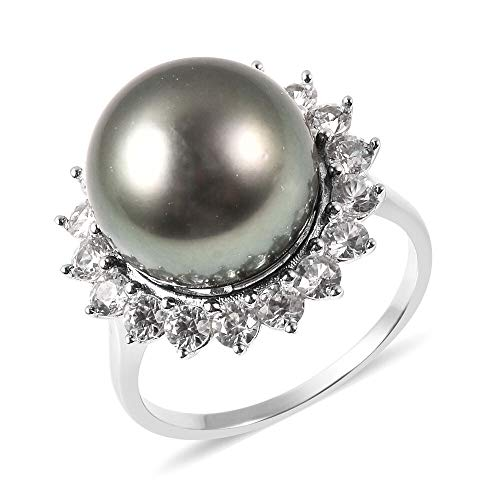 TJC Tahitian Pearl Halo Ring for Womens in 925 Sterling Silver Anniversary/Wedding/Proposal Gemstone Jewellery Size T with White Zircon June Birthstone, TCW 15ct
