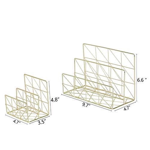 Nugoo 2/in 1/Letter Holder rack multifunzionale/ oro /Organiser Storage portalettere 2/slot del file di metallo per biglietti da visita poste e brochure cartoline
