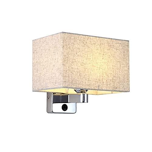 Aplique de pared, moderno aplique de pared para mesita de noche Aplique de pared de hierro con interruptor de encendido / apagado, lámpara de tela para lámpara de pared, accesorio E14 / E12, base, p