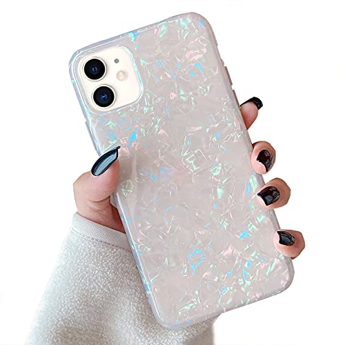 """Hapitek Compatible with iPhone 12 Case,iPhone 12 Pro Case Glitter Cute Slim Soft Flexible TPU Marble Floral Pattern for Girls Women Protective Case for iPhone 12/12 Pro 6.1"""" Colorful"""