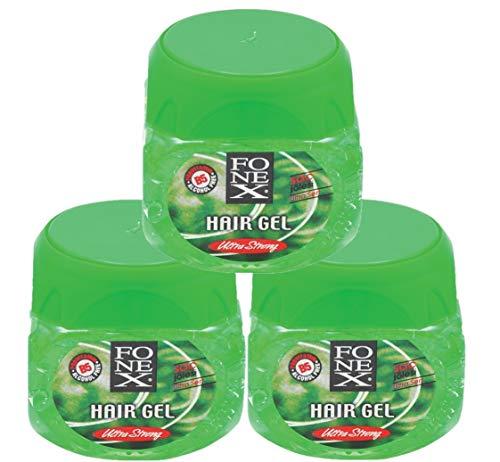 Fonex 3x Haargel ultra stark je 500 ml (1500ml) alkoholfrei | Styling Hair Gel for men | Haargel für Männer ohne das Haar auszutrocknen