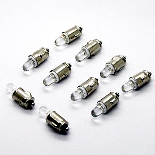 LED-Mafia Lot de 10 ampoules halogènes BA7S pour compteur de vitesse - Blanc - Éclairage intérieur de compteur de vitesse