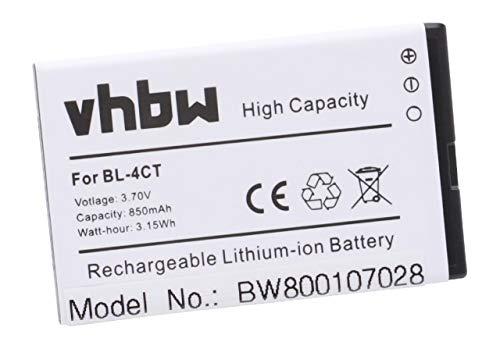 Batería Li-Ion Marca vhbw 850mAh (3.7V) para móviles GRESSO Cruiser, Grand, Luxor, Regal sustituye Nokia BL-4CT.
