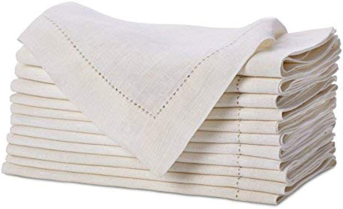 Pure Linen Oversized Napkins 12 Pack Pure Linen Hemstitch Napkins Set Of 12 Size 20x20 Ivory Hand Crafted And Hand Stitched Napkins With Hemstitch Detailing On Genuine Linen Fabric