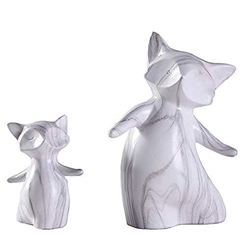 Estatuas Figuras de colección Figuras Estilo nórdico Mármol Color Estatua de zorro Cerámica blanca Pantalla de escritorio Escultura animal para sala de estar Dormitorio Estantería Escritorio Decor