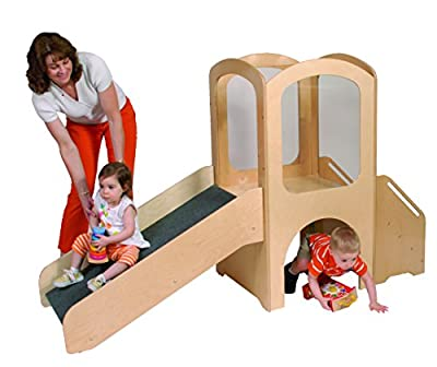 Angeles Toddler Loft Set, Kids Indoor Play Equipment, Sliding/Climbing/Crawling Toys for Preschool/Daycare/Playroom, Wooden Classroom Furniture