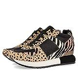 Sneakers con Mix de Print Animal y cuña Interna para Mujer SALSK
