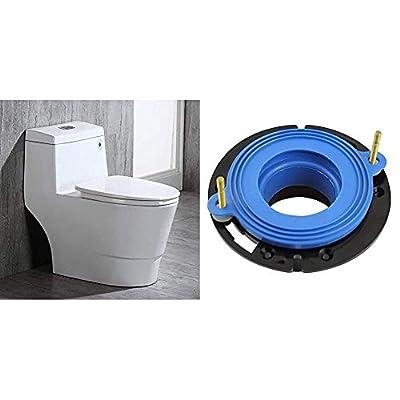 WOODBRIDGE T-0019 Cotton White toilet & Fluidmaster 7530P8 Universal Better Than Wax Toilet Seal, Wax-Free Toilet Bowl Gasket