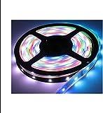 LEDテープライト RGB 5m 黒ベース 132点灯パターン フルカラー 16色設定可能 光が流れる 記憶型 調光機能 防水 両面テープ付き