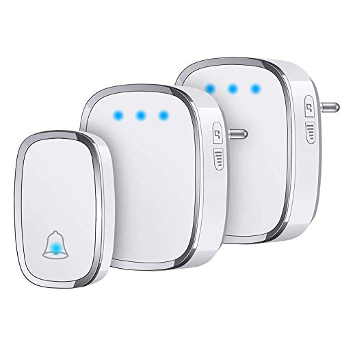 YYQ Campanello Senza Fili da Esterno Impermeabile IP44, Wireless Doorbell con Raggio d'Azione 300M, Indicatore LED, 1 Trasmettitore Pulsante e 2 Ricevitori, 5 Volume Regolabile, 36 Suonerie (Bianco)