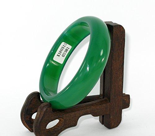JL 5,8cm China Zertifiziert Nature grün Chalcedon Jade Damen-Armreif Armbänder