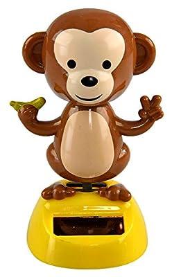 "Home-X Solar-Power Dancing Monkey Figure, Office Décor, 3 3/4"" Tall"