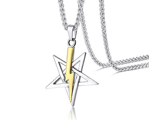 VNOX Edelstahl Kirche des Satans Satanisches Siegel von Anton Lavey Laveyan Pentagramm Blitz Anhänger Halskette für Männer,Religiöser Schmuck