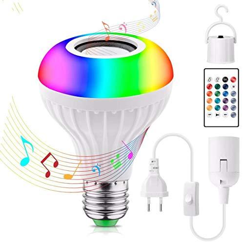 LED Glühbirne Stimmungslichter mit Bluetooth Musik Lautsprecher, RGB Farbwechsel Disco Lampe wiederaufladbar Stimmungslichter, JOLVVN 7 W Partybeleuchtung für Schlafzimmer, Schrank, Bar, Party