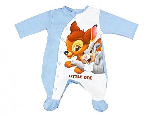 Disney - Bambi und Klopfer Jungen Baby-Strampler mit Füßchen, in GRÖSSE 50, 56, 62, 68, 74, Baby-Schlafanzug LANG-ARM mit Druck-Knöpfen, Spiel-Anzug für Neugeborene, SUPER SÜSS Größe 56