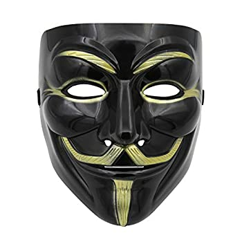 A9TEN Black Hacker Mask for Kids Anonymous V for Vendetta Mask Halloween Costume Cosplay Masquerade Party