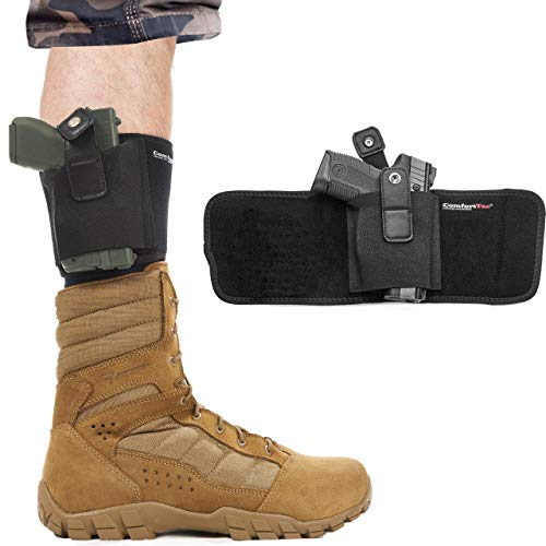 ComfortTac Ultimate Ankle Holster for Concealed Carry Fits Glock 42, 43, 36, 26, Smith and Wesson Bodyguard .380.38, Ruger LCP, LC9, Sig Sauer, and Similar Guns (17' Band Fits Up to 15' Leg)