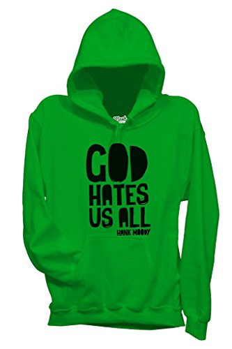 MUSH Felpa God Hates US all - Hank Moody - Californication - Film by Dress Your Style - Donna-XL-Verde Prato