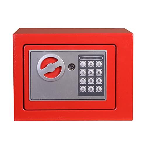 4.6 Litros Caja De Seguridad Electrónica, Caja Fuerte Digital Pequeña Con 2 Claves De Emergencia, Fijaciones De Pared Y Suelo, Utilizadas En El Hotel En El Hogar Para Proteger La Joyería(Color:rojo)