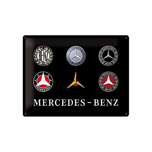 Nostalgic-Art Retro Blechschild Mercedes-Benz – Logo Evolution – Geschenk-Idee für Auto Accessoires Fans, aus Metall, Vintage-Dekoration, 30 x 40 cm