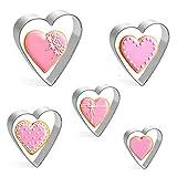 5 formine per biscotti a forma di cuore, in acciaio inox, per San Valentino, 4,5 cm, 6 cm, 7 cm, 8 cm, 9 cm