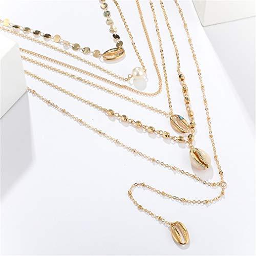 ZYYXB Collar con colgante de lentejuelas, con combinación de perlas, bohemio, multicapa de clavícula, joyería de joyería para damas y niñas