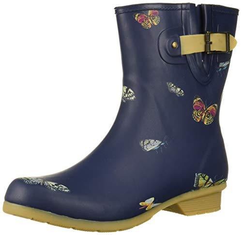 Chooka Women's Rain Boot's Mid-Height Printed Memory Foam Calf, Butterfly, 8