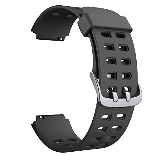 Soft Silicone Smart Watch Bands Replacement Straps Bands(23mm) for YAMAY SW020 ID205 Smart Watch (Black)