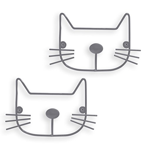 Balvi Colgador Pared The Cat Color Gris Set de 2 colgadores con Forma de Cabeza de Gato Hierro