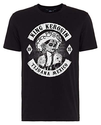 King Kerosin Herren T-Shirt Tijuana Mexico Rundhals Kurzarm Regular Fit Tijuana Mexico