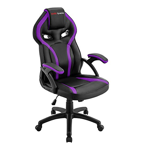 Mars Gaming MGC118 Silla Gaming Ergonomica en PU y Nylon, Regulable, Morado, L