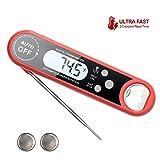 flintronic Thermomètre de Cuisson, Thermomètre Électronique à Lecture Instantanée avec Sonde, IP67 Imperméable, pour la Cuisson dans Les Cuisines, Barbecue, Liquide (Batterie Incluse) - Rouge