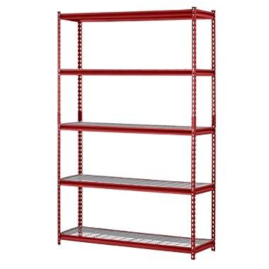Muscle Rack UR301260WD5-R 5-Shelf Steel Shelving Unit, 30  Width x 60  Height x 12  Length, Red