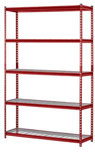 Muscle Rack UR184872-R 5-Shelf Steel Shelving Unit 48 Width x 72 Height x 18 Length Red