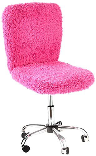 Pink Faux Fur Desk Chair for Home Office