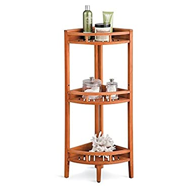 Teak 3 Tier Shower Caddy Corner Shelf Stand Mildew Resistant