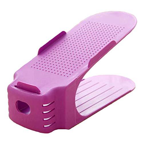 Weilifang Einstellbarer Schuh-Organisator-Sneaker High Low-Speicher-Halter Absatz Flats Sandalen Doppelschuhregal Speicher-Halter, Lila