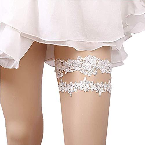 2PCS Liga de Encaje Boda, Liguero de Encaje y Lazo con Diseño, Accesorios de los Vestidos de Boda, Vestido de Decoración para Novias y Damas de Honor(Flores Blancas y Hojas)