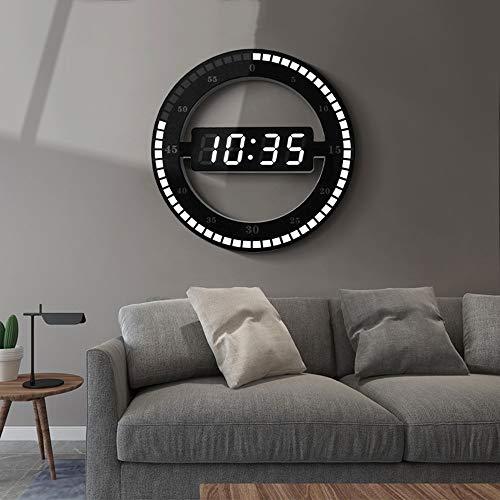 N\C Xikuo Simple LED Chip Reloj De Pared Inteligente Anillo Redondo Mudo Reloj Electrónico Digital Material Plástico Ajustar Automáticamente El Diámetro De Brillo 30.5cm