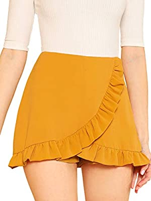 SheIn Women's Mid Waist Ruffle Wrap Skorts Asymmetrical Plain Skirt Shorts Large Ginger