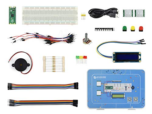 Ingcool Raspberry Pi Pico Basic Starter Kit, MicroPython Programming Learning Kit con completos tutoriales, Incluye Raspberry Pi Pico Board Pre-soldered, módulo LCD1602 RGB, Sensor PIR, LED, etc.