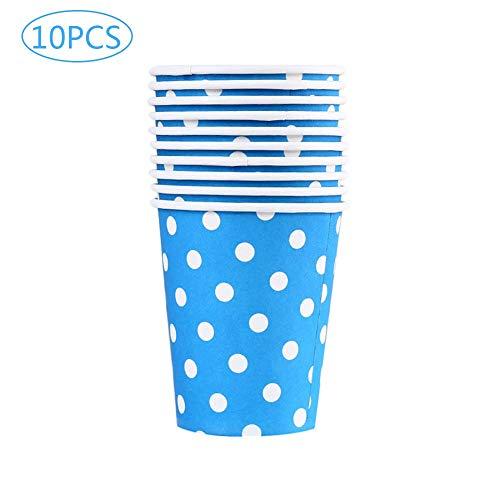 Lot de 10 gobelets Da.Wa en carton à motif à pois jetables pour boissons chaudes (thé, café) pour mariages et fêtes, 250 ml, Papier, bleu, 7.4*5.2*8.3cm