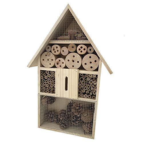 XXL 50cm tuin balkon insectenhotel insectenhuis nestkast broodkast insecten bijen hotel met draadgaas van natuurlijk hout