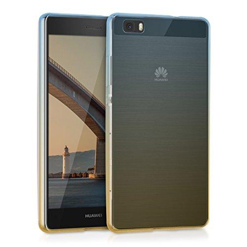 kwmobile Funda Compatible con Huawei P8 Lite (2015) - Carcasa de TPU y Rayas de Dos Colores en Azul/Amarillo Mate