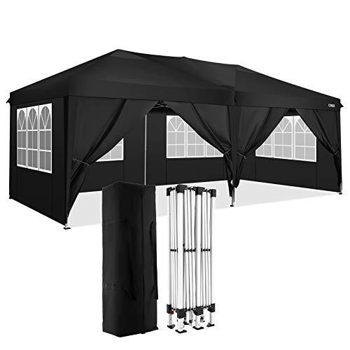 COBIZI Gazebo with Sides 3 x 6m Outdoor Portable Canopy Gazebo Commercial Instant Party Gazebo Beach Canopy Gazebo Shelter for Events, Wedding (3 x 6m with Sidewalls, Black)