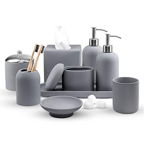 Real Simple - Passendes Badezimmer-Zubehör-Set | Seifenspender, Lotionspender, Seifenschale, Zahnbürstenhalter, Taschentuchbox & mehr | komplettes modernes Baddekor-Set (grauer Gummi)