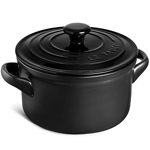 LE TAUCI 3 Quart Dutch Oven Pot with Lid, Ceramic Casserole Dish for Bread Making, Stove to Oven, Non-Coated, Use as Bread Pot, Soup Pot, Stew Pot,Black