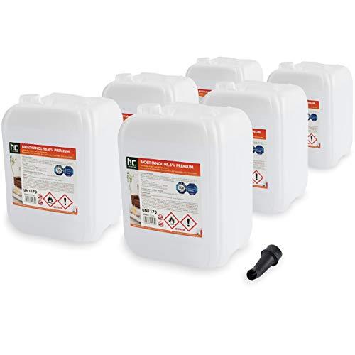 Höfer Chemie 6 x 10 l (60 litres) Bioéthanol 96,6 % Premium - QUALITÉ certifiée par TÜV SÜD - pour cheminée à éthanol, foyer à éthanol, cheminée de table à éthanol et cheminée au bioéthanol - Fabriquée en France